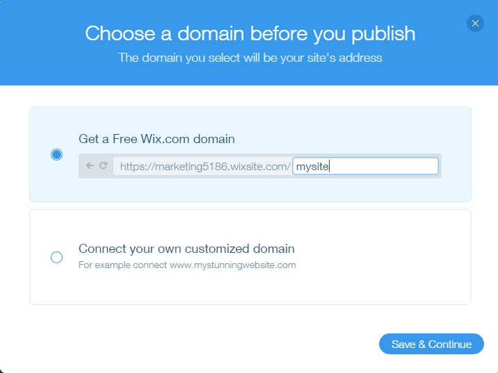 choosing a domain on wix