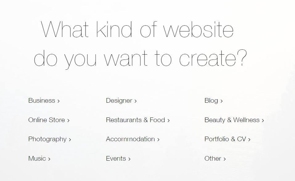 wix website category options